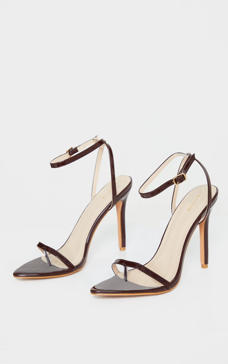 Chocolate Toe Thong Ankle Strap Point Toe Heeled Sandal 3