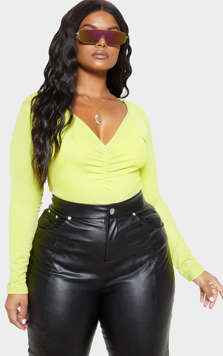 Plus Neon Lime Jersey Ruched Front Bodysuit  1