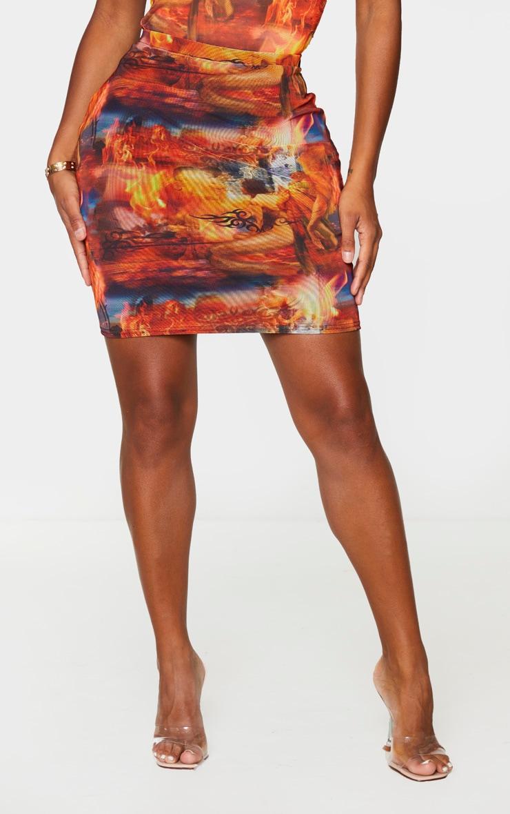 Shape Red Renaissance Print Bodycon Skirt 2