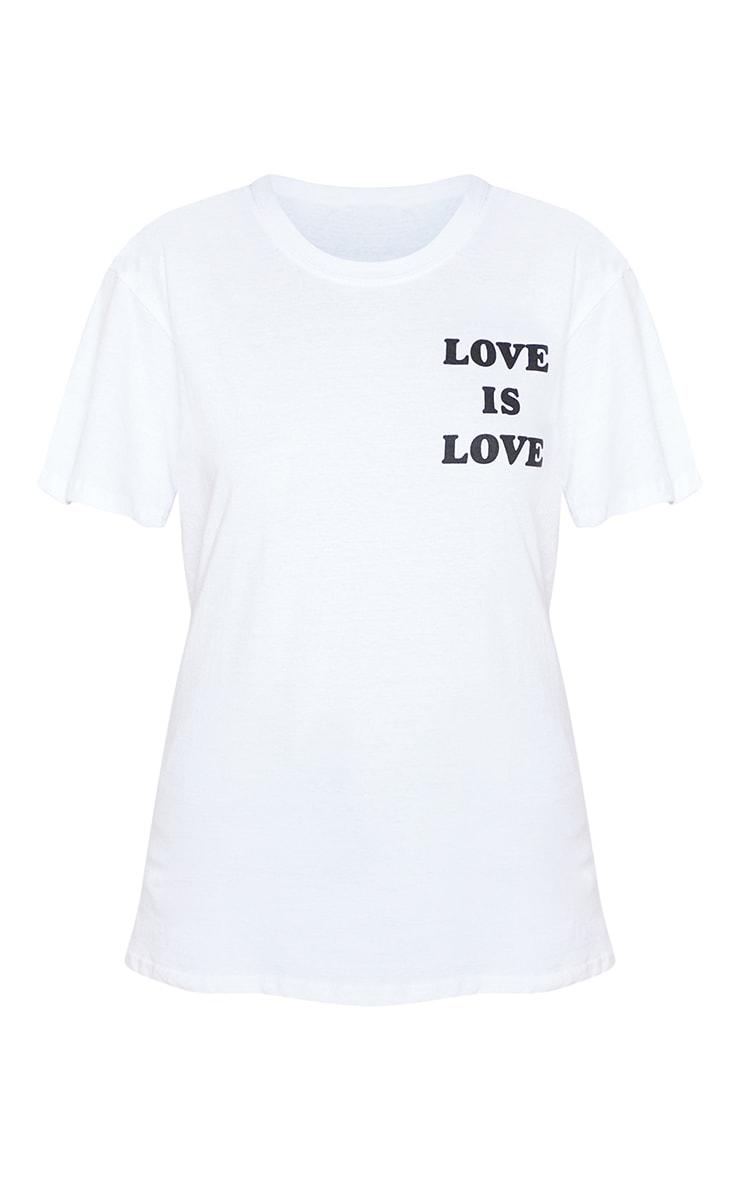 UNISEX White LOVE IS LOVE Oversized T-shirt 4