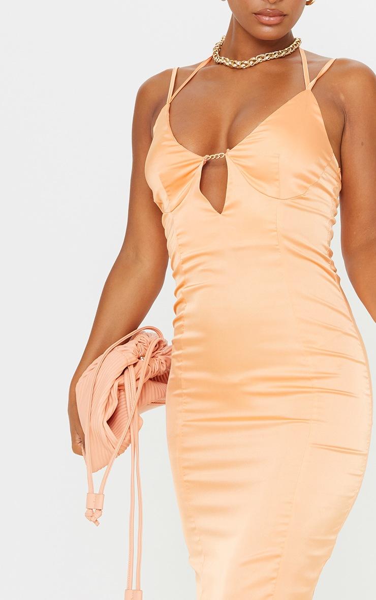 Orange Satin Strappy Halterneck Detail Split Hem Midi Dress 4