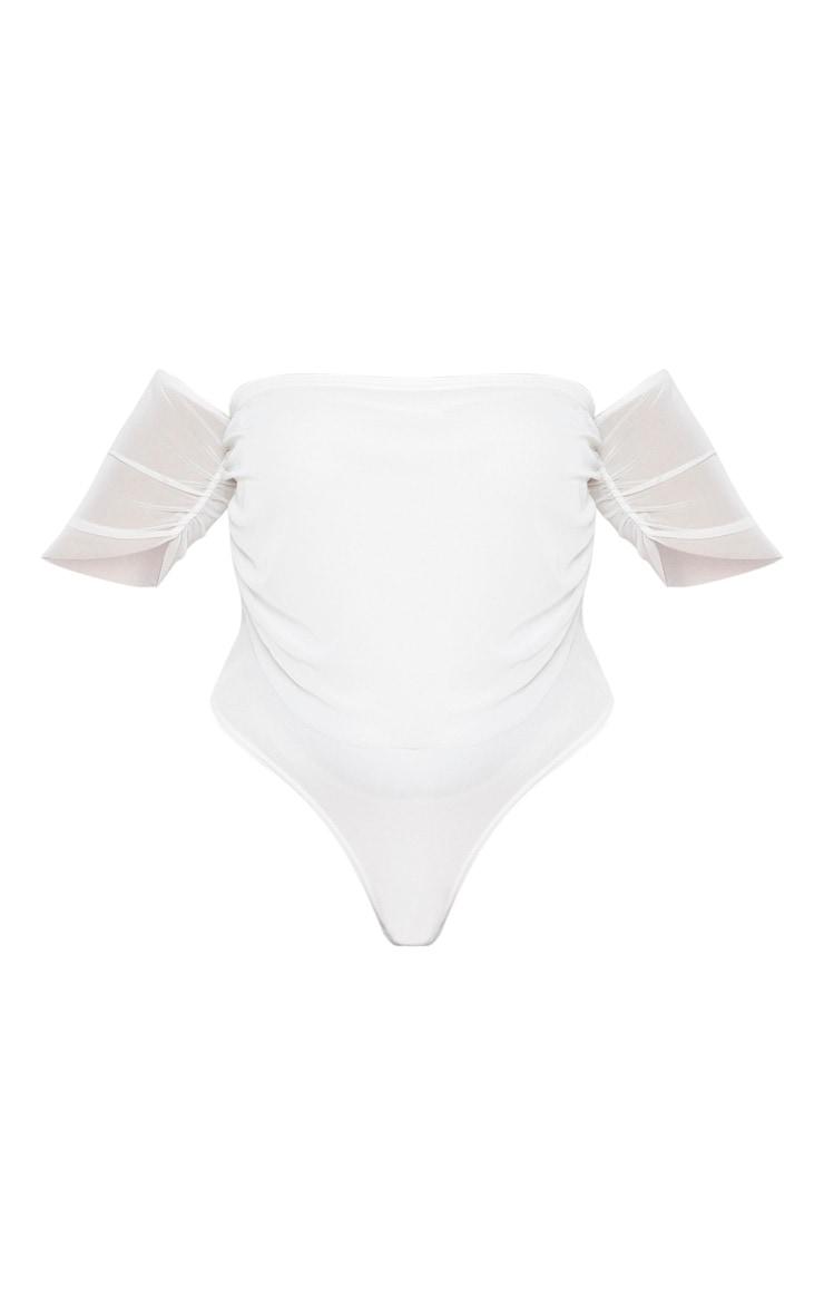 Plus Cream Mesh Ruched Bardot Bodysuit 3