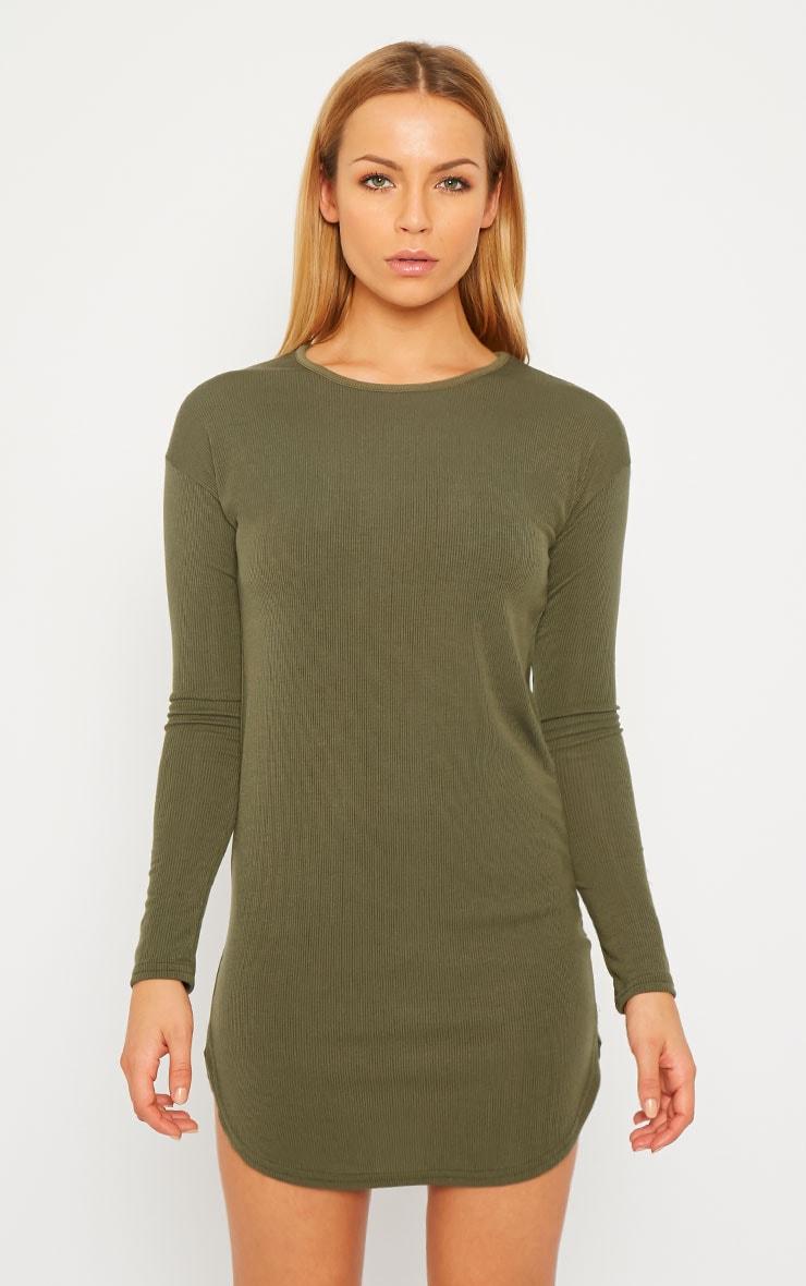 Basic Khaki Curve Hem Dress 4
