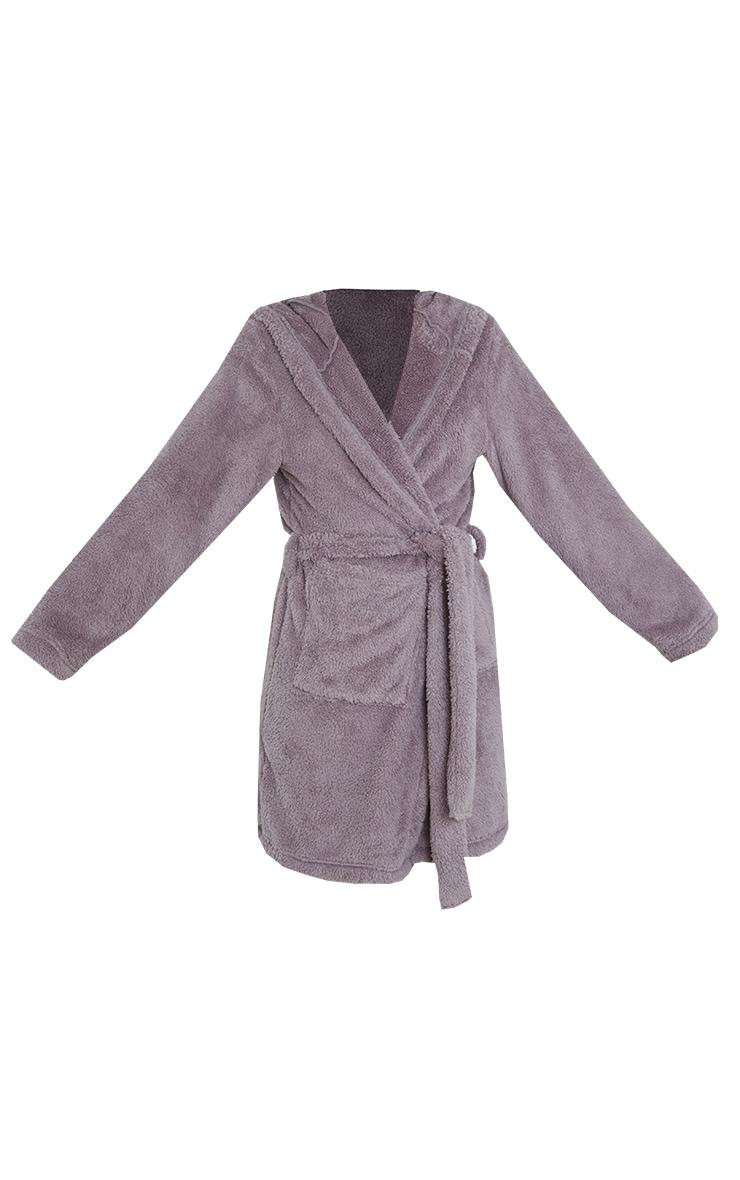 Grey Fluffy Teddy Ear Dressing Gown 5