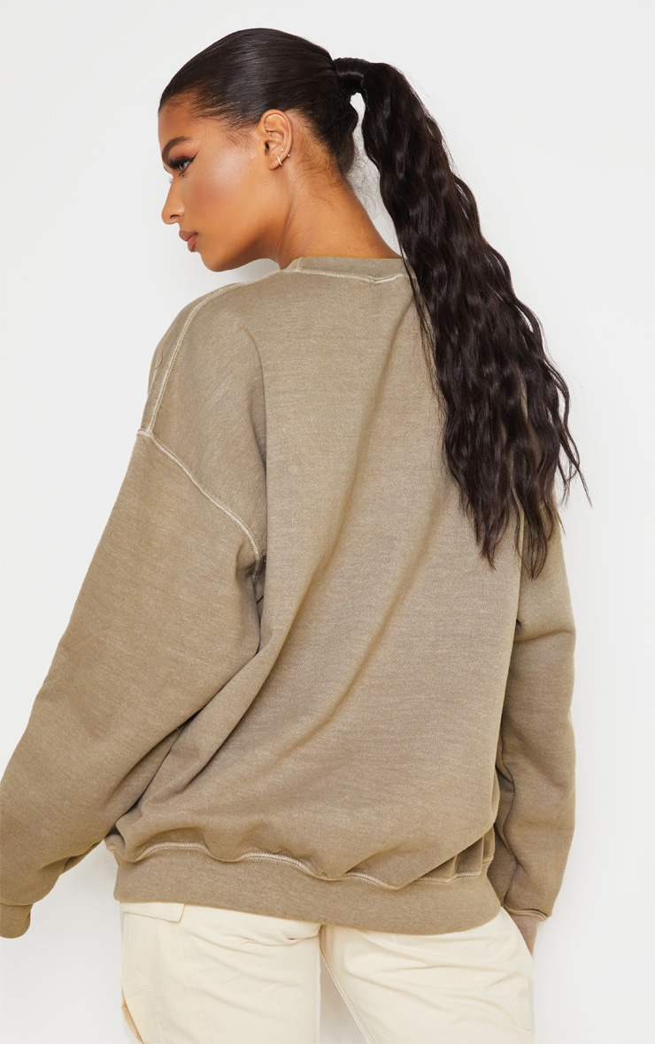 Taupe Oversized Washed Sweater 3