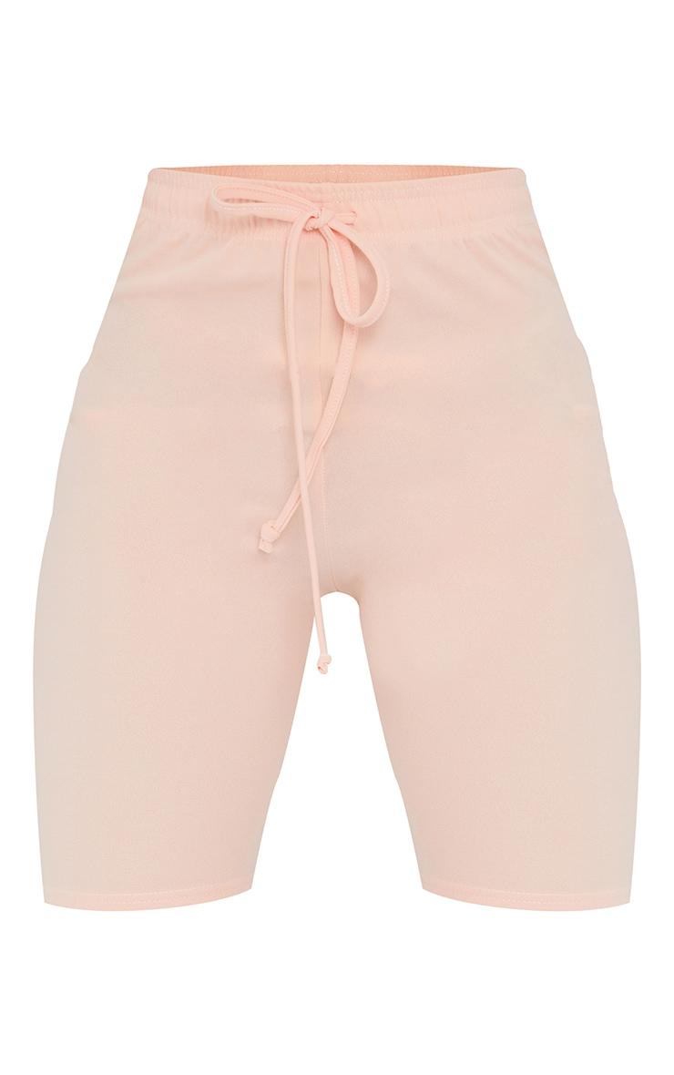 Light Pink Stretch Crepe Tie Waist Bike Shorts 6