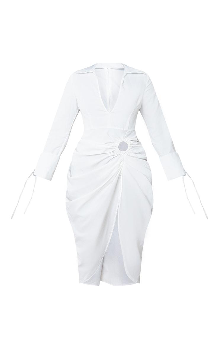 White Oversized Tie Cuff Ring Detail Midi Shirt Dress 5
