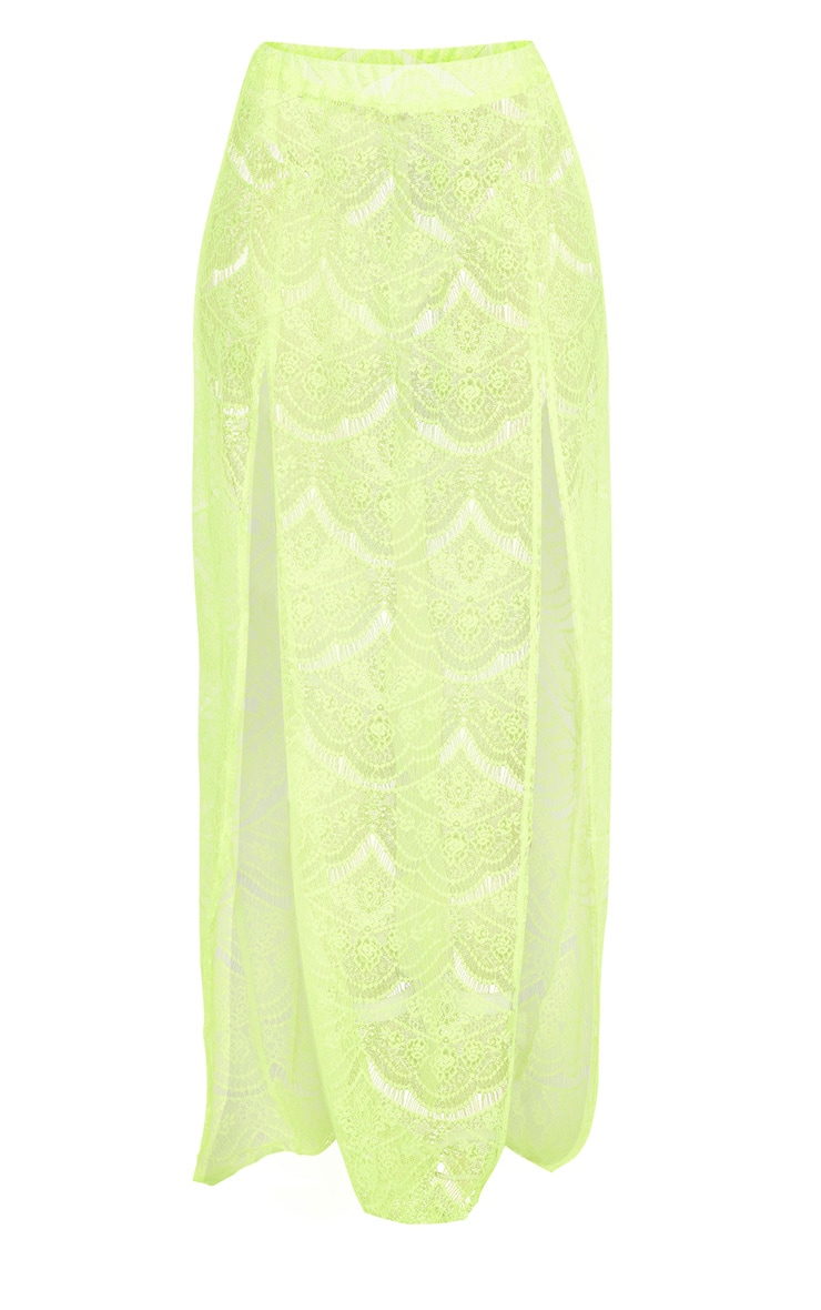 Neon Yellow Lace Split Maxi Beach Skirt 3