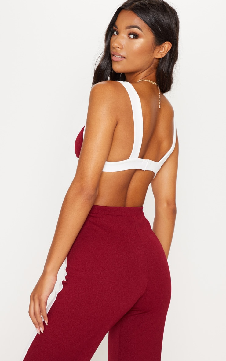 Maroon Contrast Triangle Bralet 2