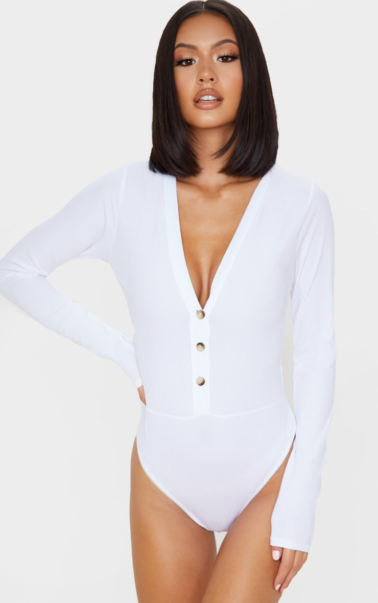 White Long Sleeve Button Detail Bodysuit 2