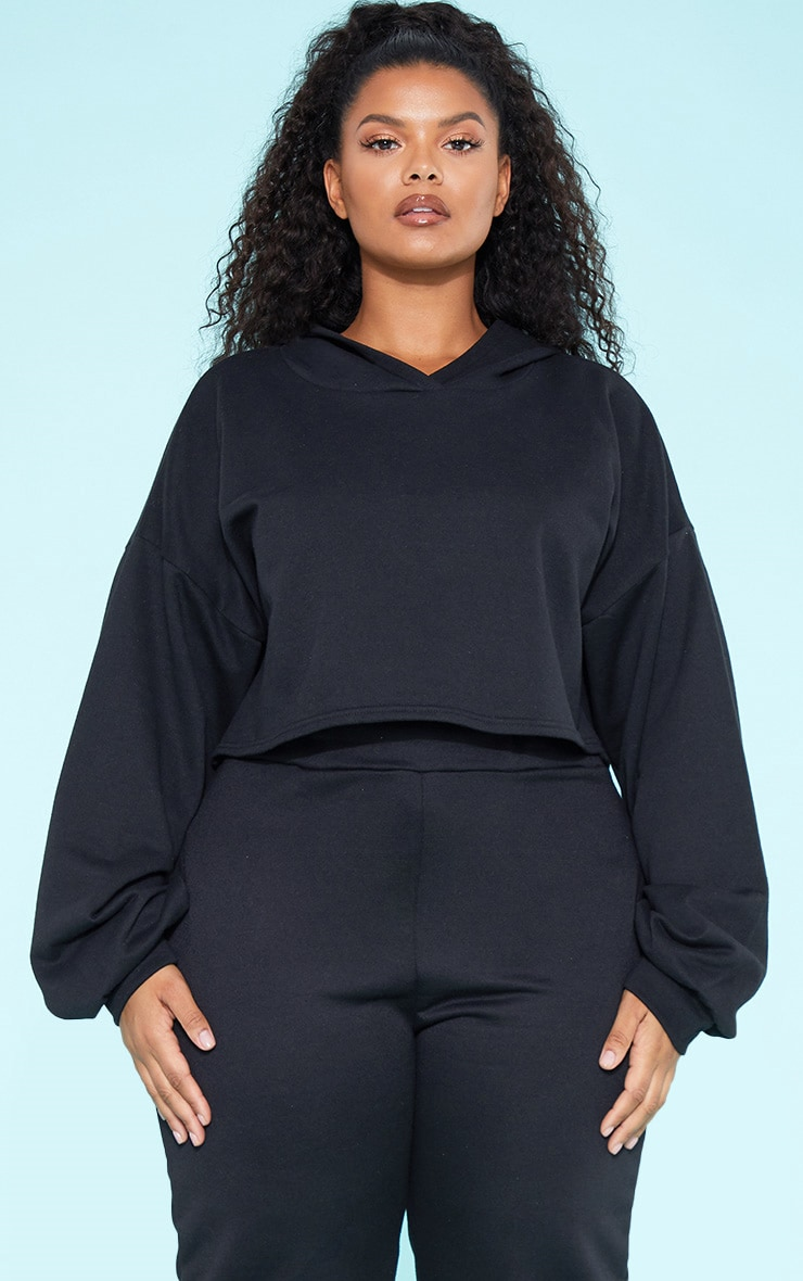 RECYCLED Plus Black Crop Hoodie 1