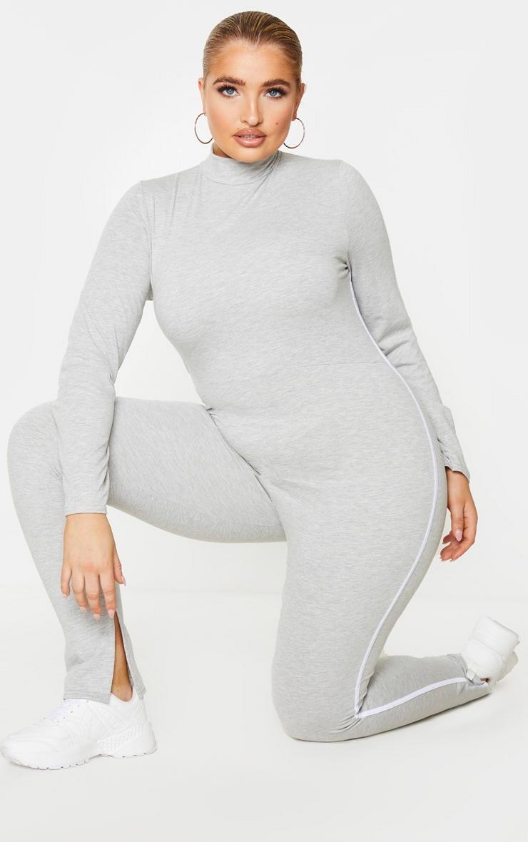 Plus Grey Sports Stripe High Neck Jumpsuit 3