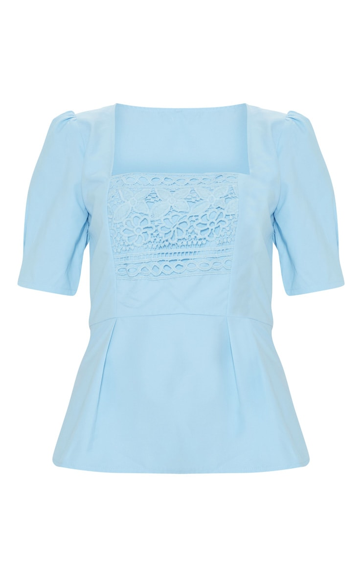 Pale Blue Crochet Detail Short Sleeve Top 3