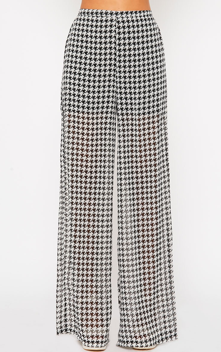 Paola Monochrome Dogtooth Sheer Palazzo Trousers 4