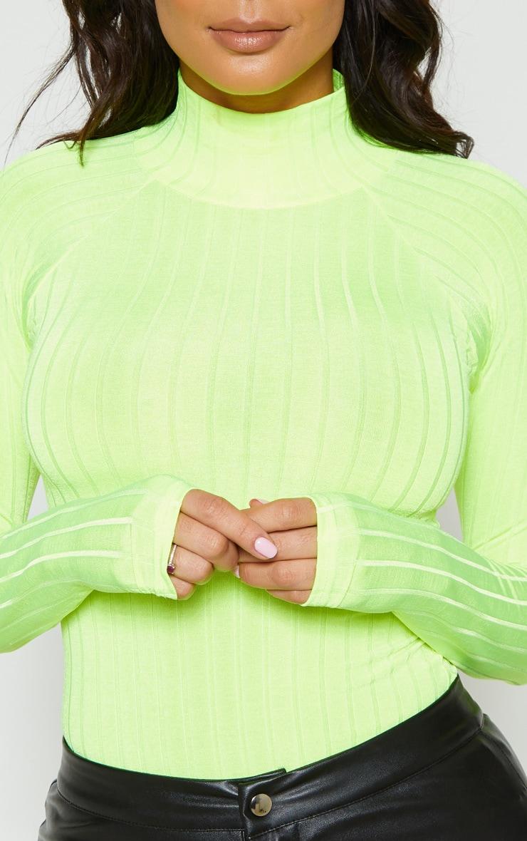Neon Lime Slinky Rib High Neck Long Sleeve Top 5