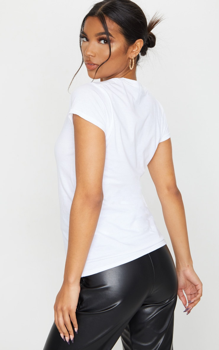 White Butterfly Print Fitted T Shirt 2