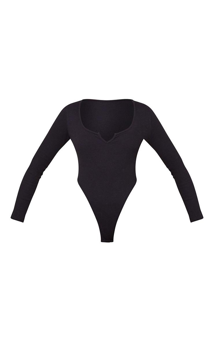 Black Rib V Cut Out Long Sleeve Bodysuit 5
