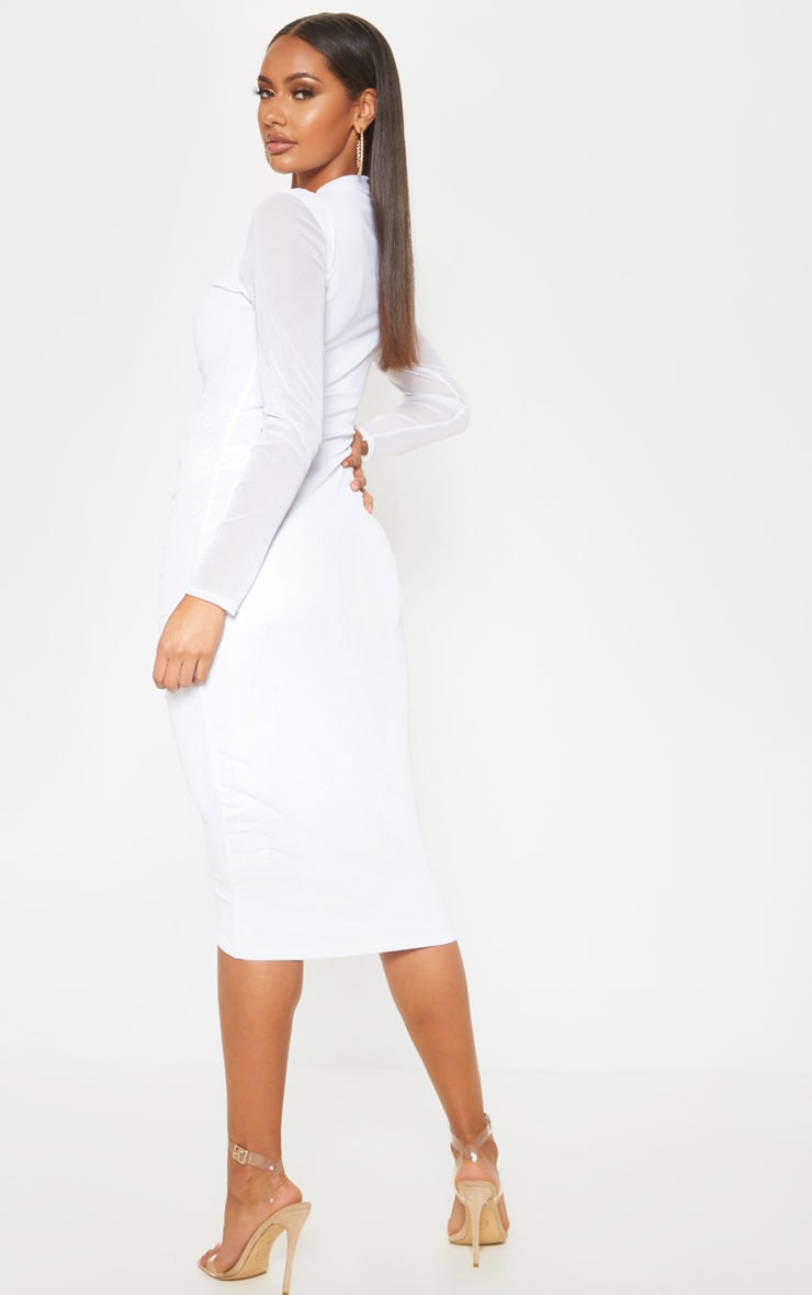White Mesh Ruched Midi Dress 2