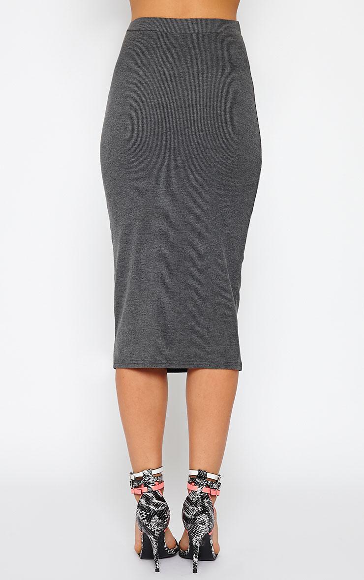 Basic Charcoal Ribbed Midi Skirt 3