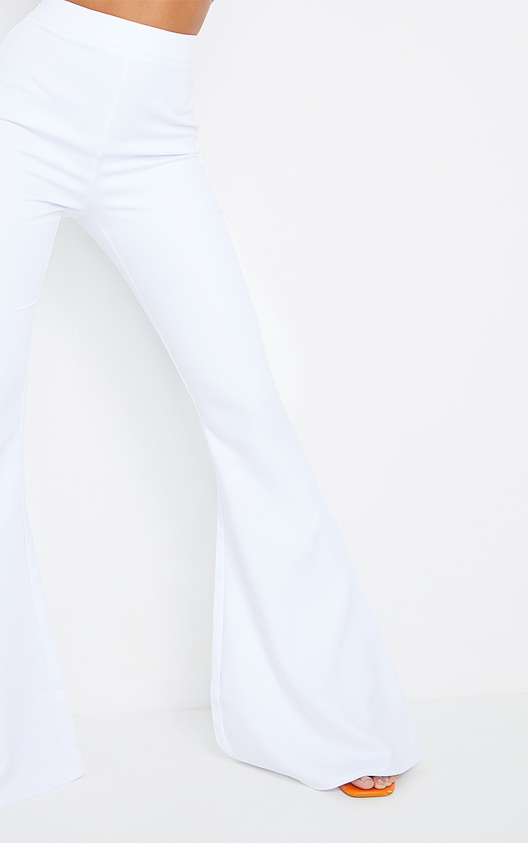 White Woven High Waisted Flare Trousers 4