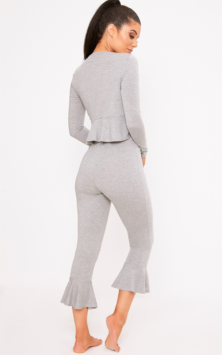 Grey Frill Detail Cropped PJ Set 2