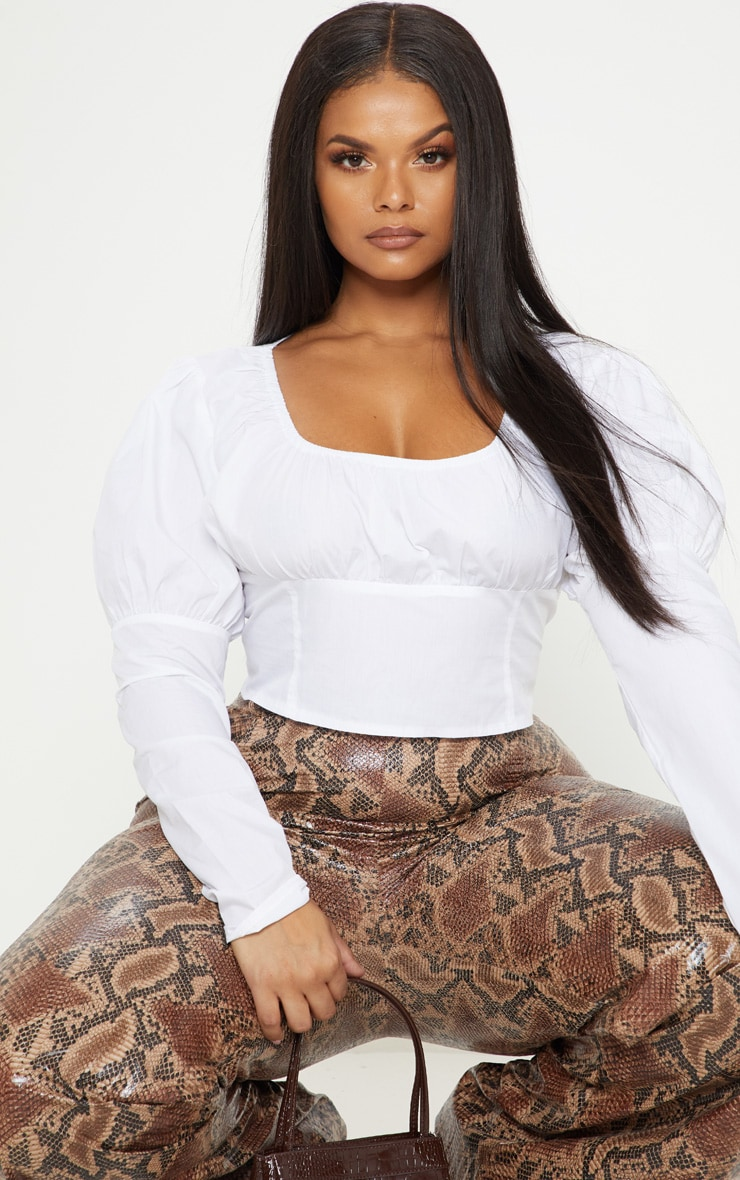 Plus White Puff Sleeve Square Neck Crop Top 5