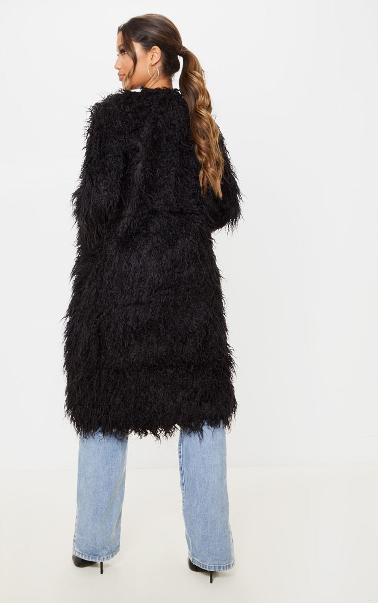 Black Shaggy Longline Faux Fur Coat 2