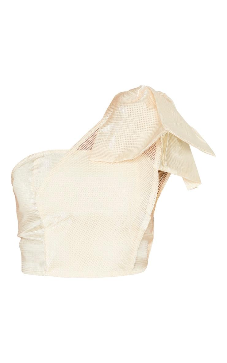 Cream Textured One Shoulder Bow Detail Bandeau Crop Top 3