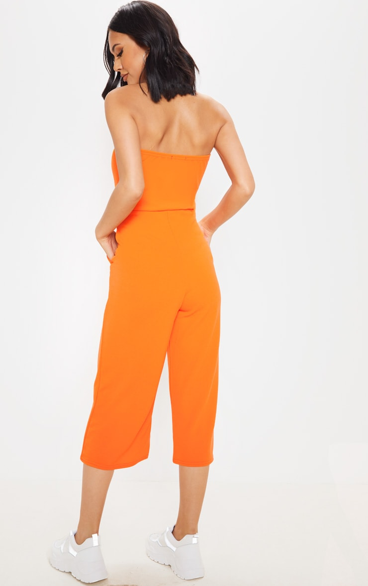 Orange Bandeau Culotte Jumpsuit 2
