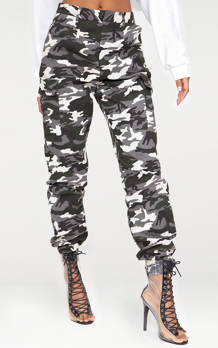 Grey Camo Print Cargo Trousers 2