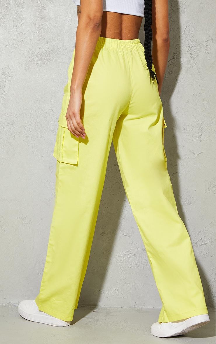 Lemon Yellow Wide Leg Cargo Pants 3