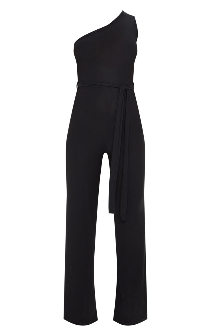 Black One Shoulder Tie Waist Jumpsuit 3
