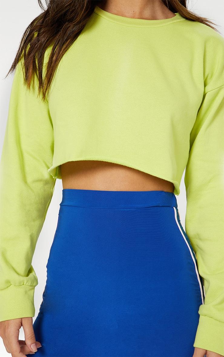 Lime Cut Off Crop Longsleeve Sweater 4