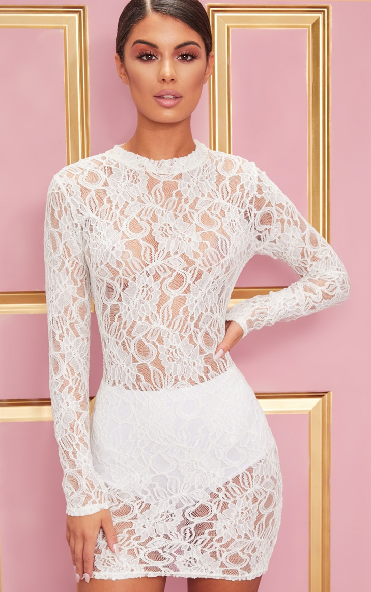White Lace Long Sleeve Bodycon Dress 1