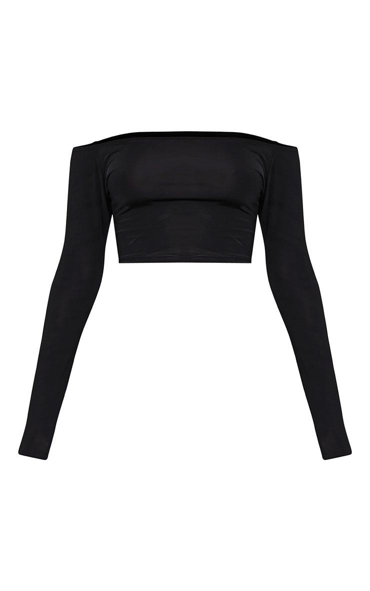 Alivia top court bardot noir près du corps à manches longues 3
