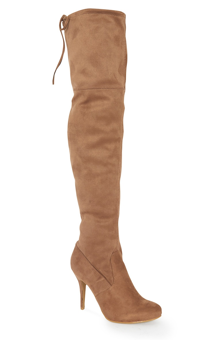 Ayana Tan Suedette Over the Knee Heeled Boot 3