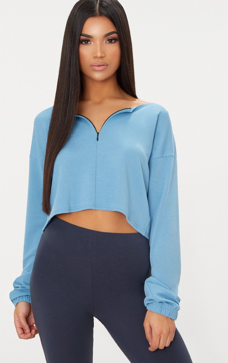 Dusky Blue Zip Front Sweater