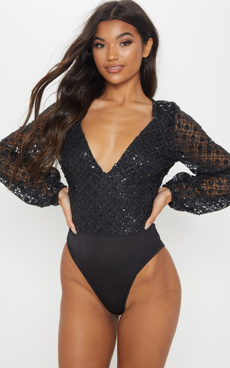 Black Plunge Glitter Volume Sleeve Bodysuit 2