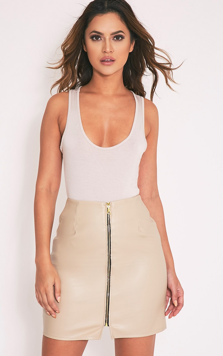 Chandra Stone Faux Leather Zip Front Mini Skirt 1