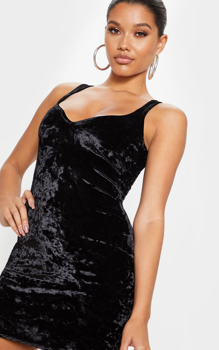 Black Velvet Sleeveless Sweetheart Neck Bodycon Dress 5
