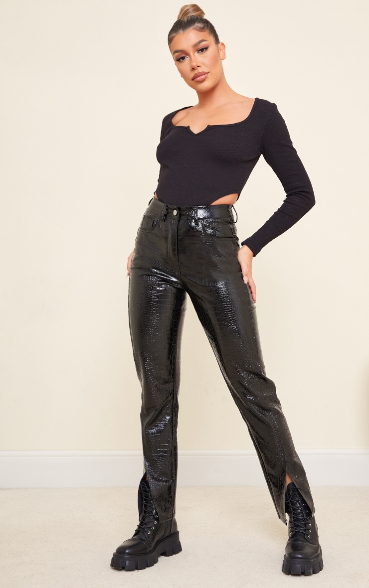 Black Rib V Cut Out Long Sleeve Bodysuit 3