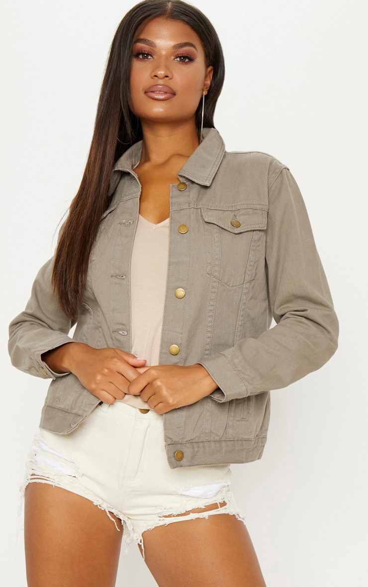 Taupe Oversized Denim Jacket  1