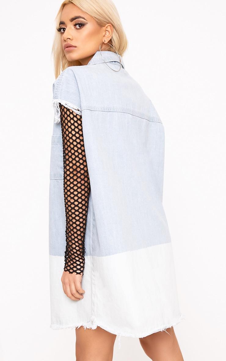 Emmylou Super Light Ombre Oversized Raw Edge Denim Dress 2
