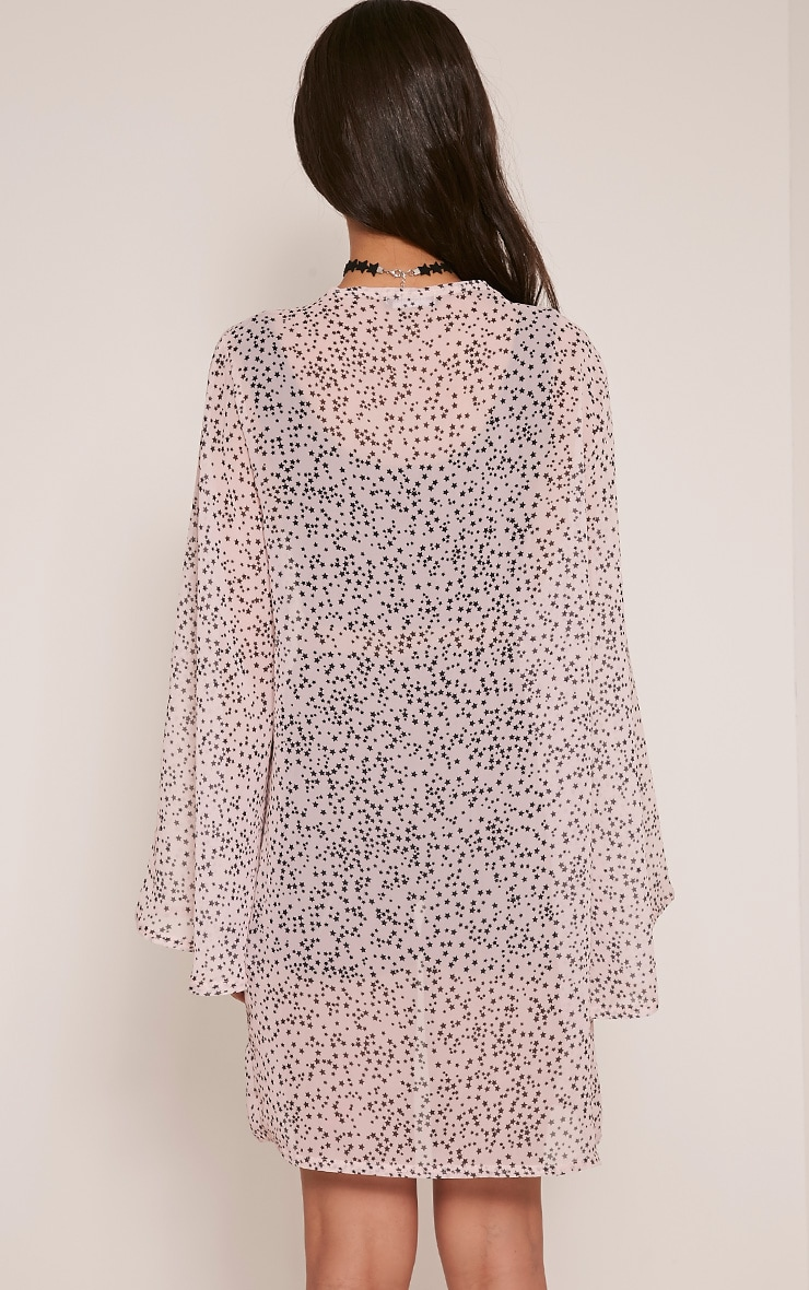 Estelle Nude Star Print Sheer Midi Kimono 2
