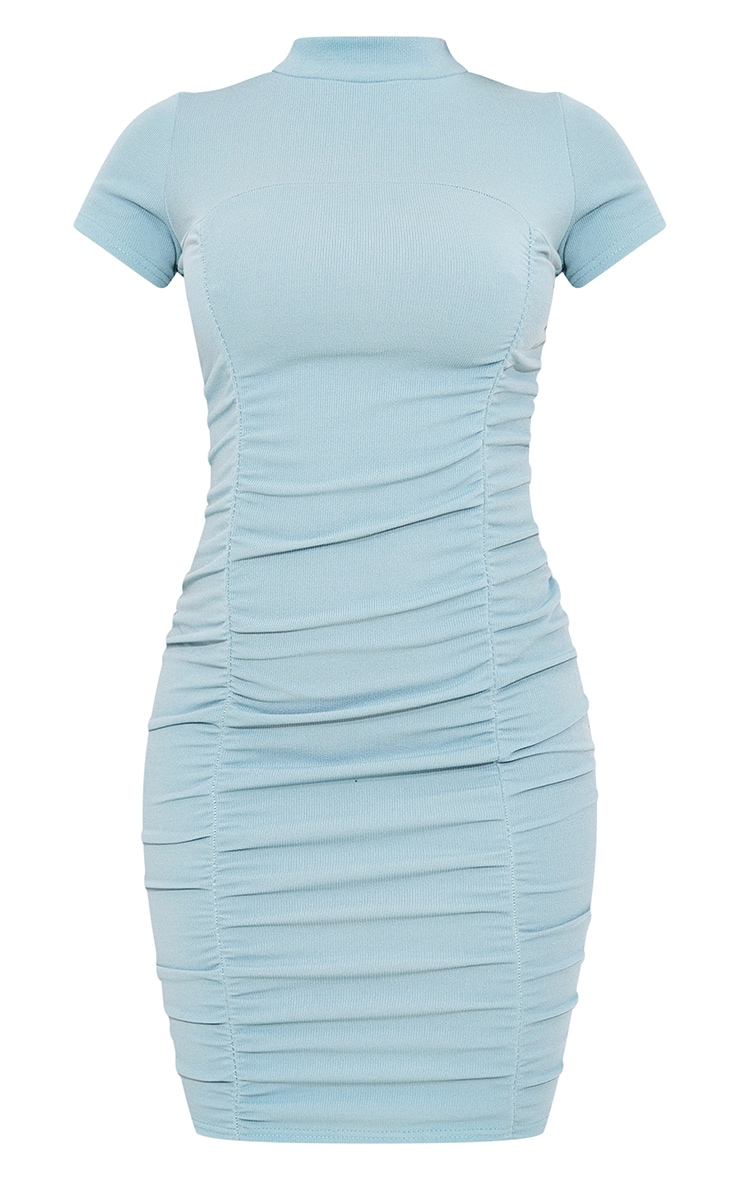Mineral Blue  Rib Double Ruched Detail Short Sleeve Bodycon Dress 5