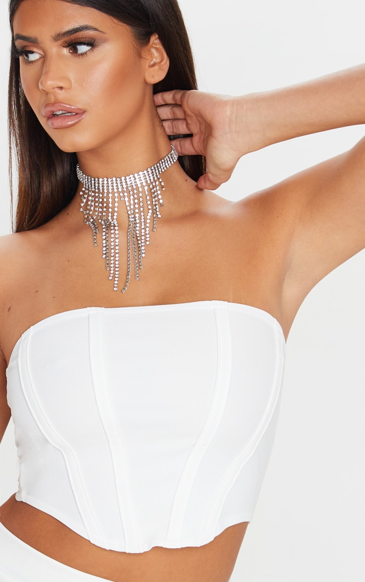 White Textured Rib Corset Detail Crop Top 4