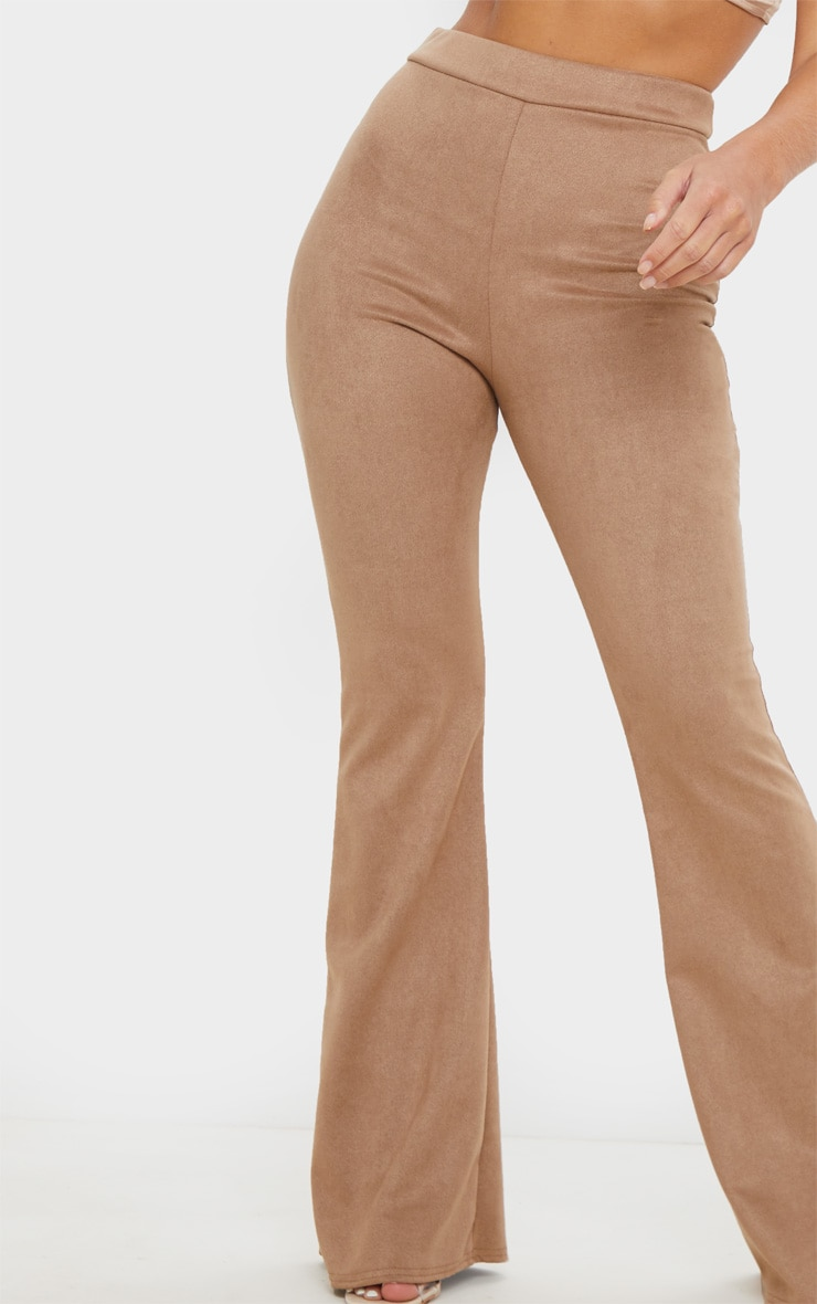 Stone Faux Suede Flare Trouser 5