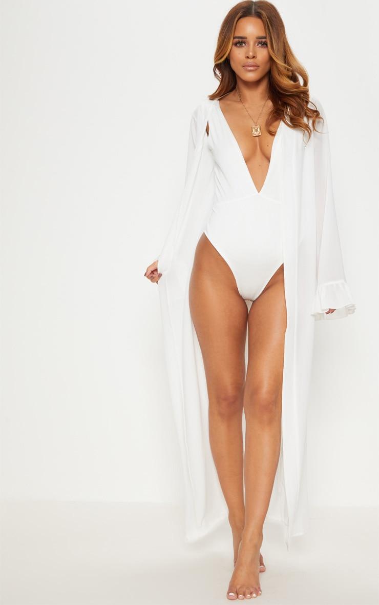 Petite - Kimono blanc à manches volantées 1