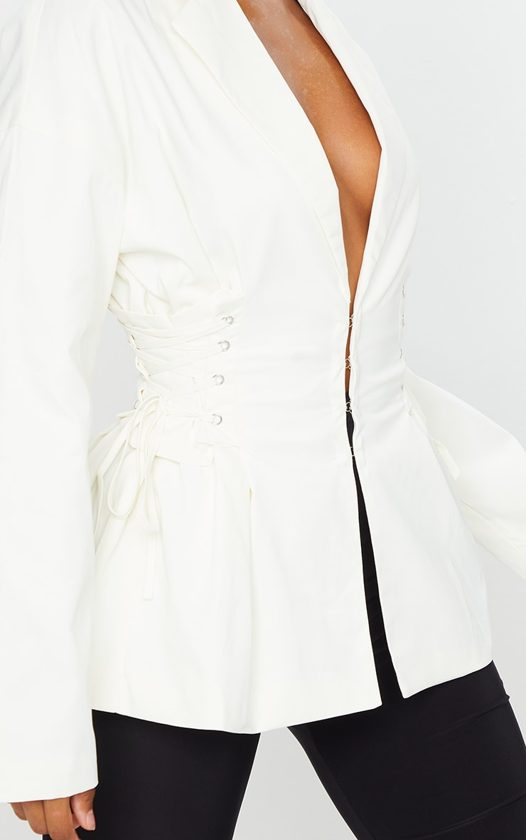Cream Side Corset Detail Blazer 4
