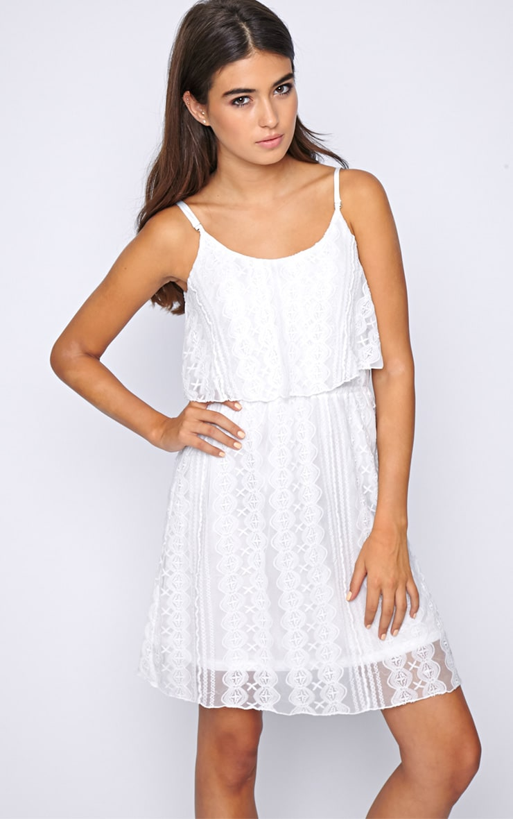 Stacey White Lace Swing Dress  1